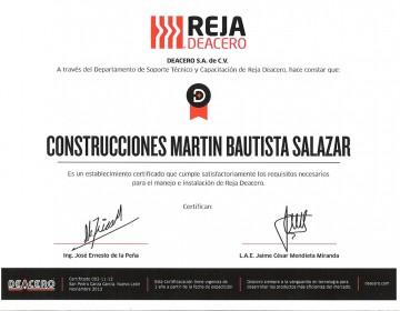 Certificado Reja de Acero 1